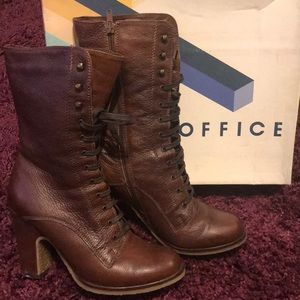 Office Brown Leather Lace Up Boots
